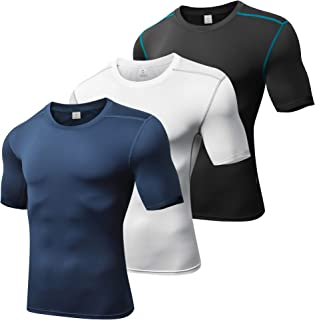 Xtextile Men's Compression Baselayer Cool Dry Short Sleeves Shirts(Pack of 3)