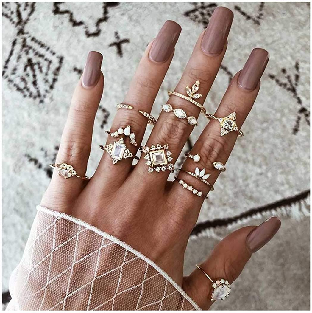 deladola Boho Ring Set Gold Sparkly Crystal Rhinestone Joint Knuckle Hand Rings Gemstone Stackable Midi Heart Snake Hand Jewelry for Women and Girls (7Pcs)
