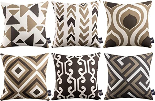 popular Phantoscope Set of 6 Geometric Pattern Double Side Print Decorative online Throw Pillow Case Cushion Cover, lowest Coffee, 18 x 18 inches 45 x 45 cm online sale