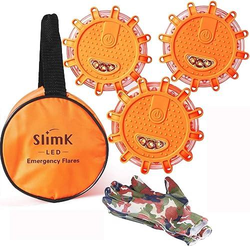 SlimK LED Road Flares Safety Flashing Warning Light Roadside Flare Emergency Discs Beacon, Magnetic Base for Car Moto...