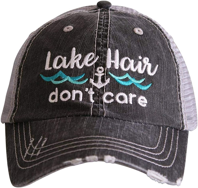 Katydid Lake Hair Don't Care Women's Distressed Grey Trucker Hat