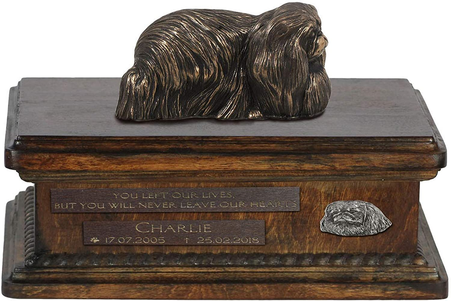 Pekingese, Urn for Dog Ashes Memorial with Statue, Pet's Name and Quote  ArtDog Personalized