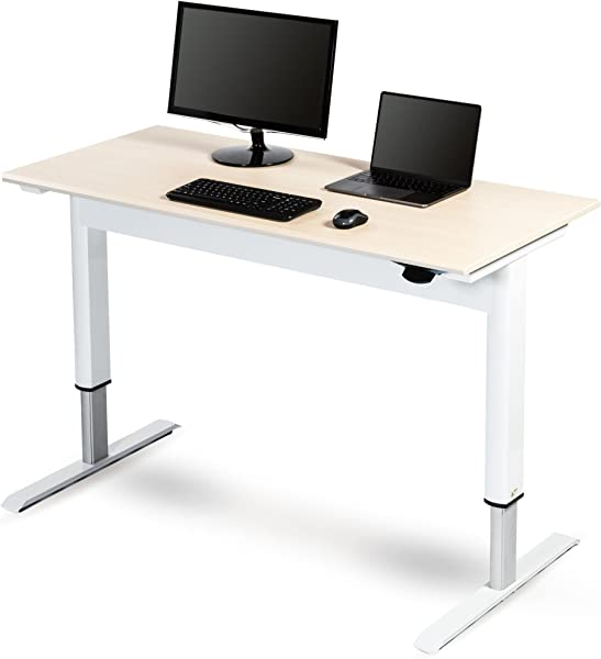 Pneumatic Adjustable Height Standing Desk 48 White Frame Birch Top