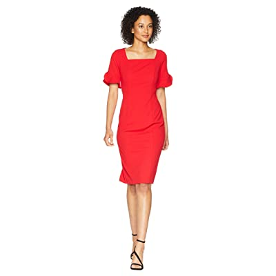 Donna Morgan Midi Length Crepe Dress with Flutter Sleeve (Red/Red) Women