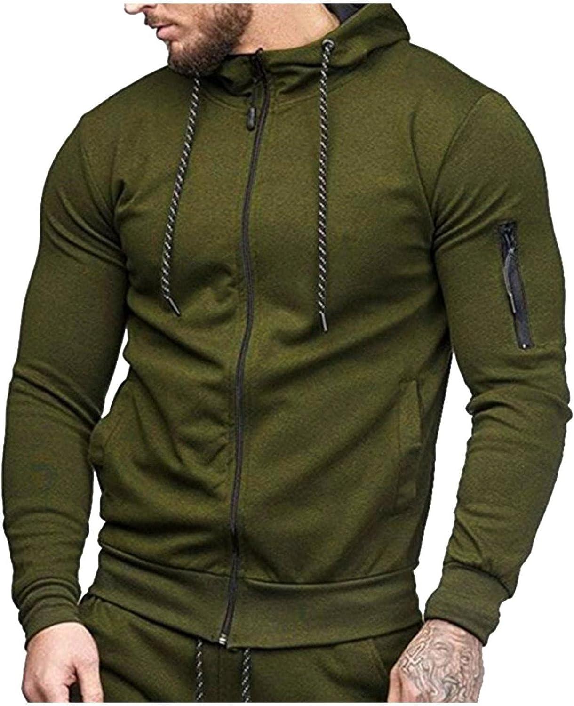 LEIYAN Mens Slim Fit Hoodie Casual Long Sleeve Zip Up Lightweight Track Hooded Pullover Jackets Sweatshirts