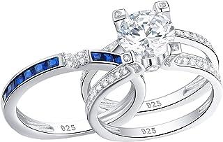 Newshe خواتم زفاف للنساء خاتم الخطوبة مجموعات الياقوت الأزرق الفضة الاسترليني جولة الحجم 5-10