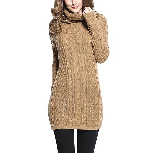 Rocorose Women s Turtleneck Long Sleeves Cable Knit Long Sweater efbc1e029