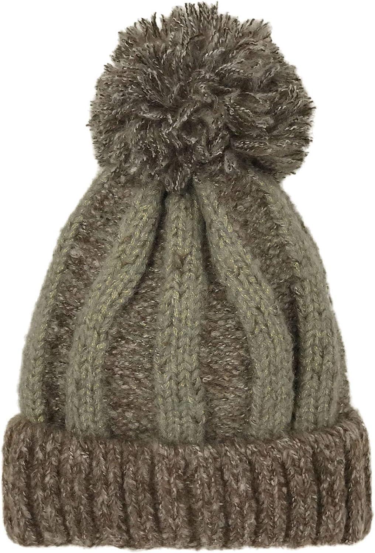 PEACE UNLTD. NY Two Tone Winter Warm Chunky Stretchy Cable Knit Pom Pom Skully Beanie Hat