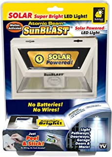 New Atomic Beam SunBlast by BulbHead Solar Powered LED Motion Activated Security Light, Industrial Strength Adhesive for Easy Installation (Atomic Beam SunBlast 1 Pack) …