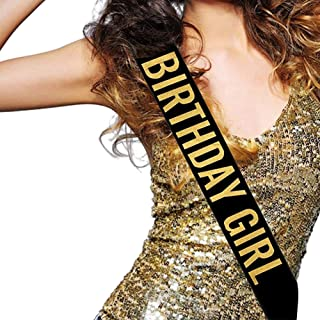URSKYTOUS Birthday Girl Satin Sash Birthday Party Supplies and Decoration for 16th,18th,21st,30th,40th