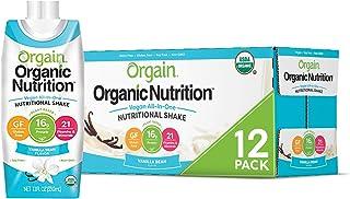 Orgain Organic Vegan Plant Based Nutritional Shake, Vanilla Bean -  16g Protein, 21 Vitamins & Minerals, Gluten Free, Lactose Free, Kosher, Non-GMO (Packaging May Vary) 12 COUNT