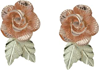 10k Black Hills Gold Rose Earrings with 12k Gold Leaves.