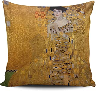 SALLEING Custom Fashion Home Decor Pillowcase The Lady in Gold the Extraordinary Tale of Gustav Klimt's Masterpiece Portrait of Adele Bloch-Bauer Euro Square Throw Pillow Cover Cushion Case 26x26 In