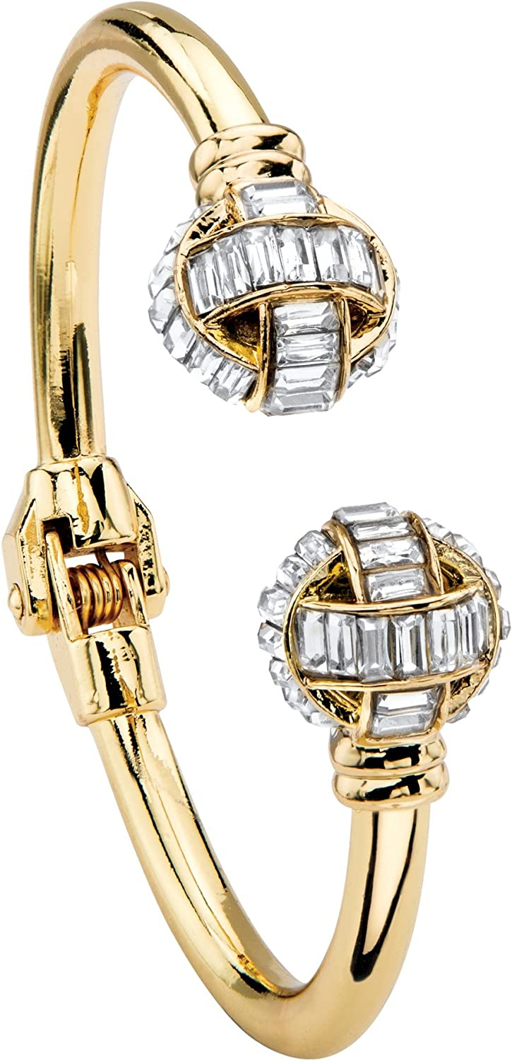 Palm Beach Jewelry Silvertone or Goldtone Baguette Crystal, Hing