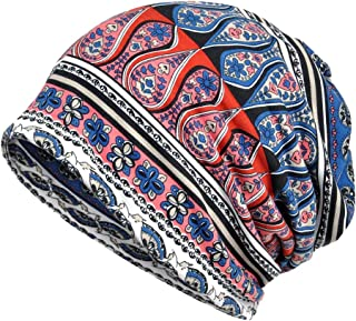 Women's Spring Beanie Flower Printed Hat Infinity Scarf Head Wrap Cap