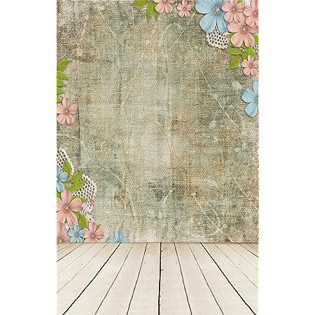 SZZWY Wooden Floor Photo Background Flowers Baby Photography Backdrops Vinyl 5x7FT QX115