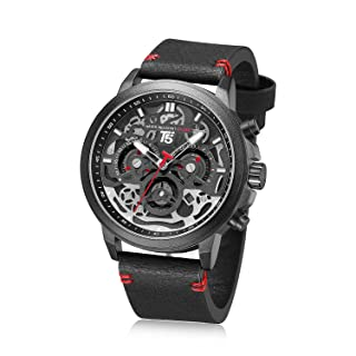 T5 H3624G-A Leather Round Analog Watch for Men - Black