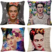Joyi 4 Pack Frida Kahlo Self-Portrait Cotton Linen Pillowcase Throw Pillow Cover Cushion Cover,Pattern 2