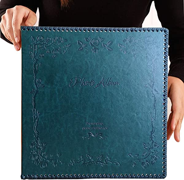Totocan Photo Album Self Adhesive Huge Magnetic Self Stick Page Picture Album With Leather Vintage Inspired Cover Hand Made DIY Albums Holds 3X5 4X6 5X7 6X8 8X10 Photos DarkGreen 80 Pages