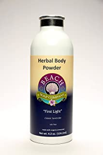 Talc Free Organic Body Powder, First Light Scent (Lavender Essential Oil). Made and sold by Beach Organics. 4.2 oz.