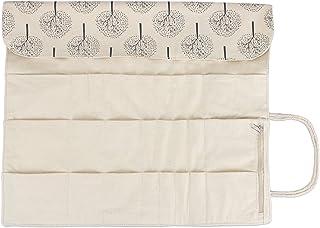 Teamoy キャンバス 編み針収納ケース かぎ針 レース針 輪針 棒針(最大14インチ/35.5CM) ハサミ とじ針 目数リング 保管 持ち運び 便利 プレゼント(ケースのみの販売) 木