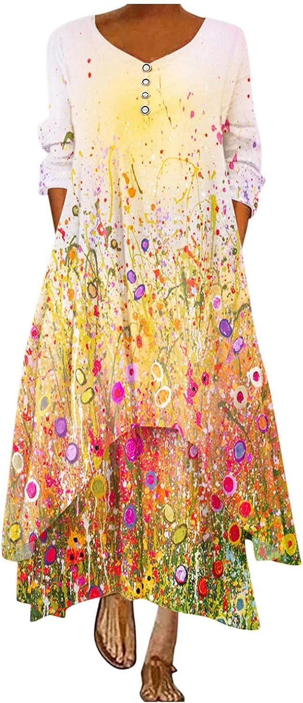melupa Long Sleeve Maxi Dress for Women - Irregular Hem Loose V Neck Casual Button Boho Floral Print Fall Long Dresses