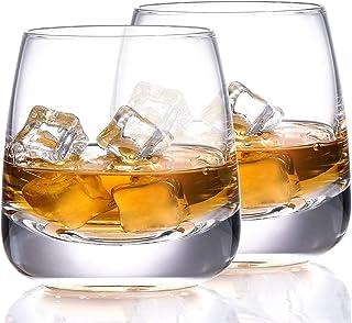 TOOWELL Crystal Whiskey Glasses Set of 2 Bourbon Glasses Lead Free Hand Blown Crystal Scotch Tumblers 9OZ Heavy Base Rocks...