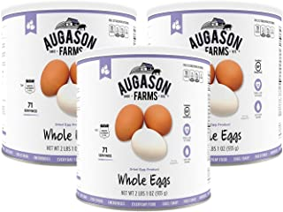 Augason Farms Dried Whole Egg Powder Certified Gluten Free Emergency Food Supply Everyday Use Camping No. 10 Cans (3 Pack) White 3-pack (no. 10 can)