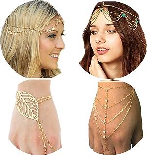 PPX 4 Pezzi Catenina per Capelli in Stile Bohémien, Decorato con strass donna nappa stile bracciale catena con anello per ...