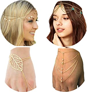 PPX 4 Gold Head Chain Set, Bohemian Style Circle Sequins Chain Jewelry Forehead Hair Band Clasp Decorations and Hair Band Tassels Pearl and Crystal Bracelet Slave Finger Ring Hand Harness with Box