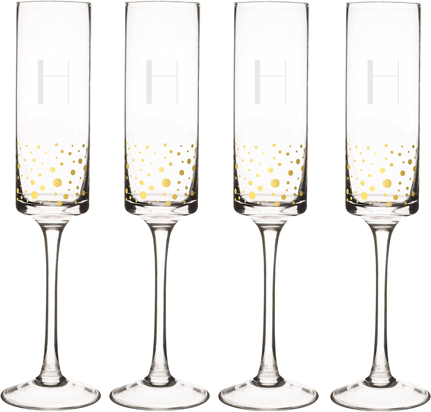 Cathy's Concepts GD3668-4-H Personalized gold Dot Contemporary Champagne Flutes (Set of 4), Clear