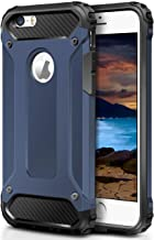 WOLLONY iPhone 5S Case,iPhone SE Case, Rugged Hybrid Dual Layer Armor Protective Case Shockproof Cover for iPhone SE,5,5S Heavy Duty Slim Hard Shell Protection Impact Resistant Bumper(Deep Blue)