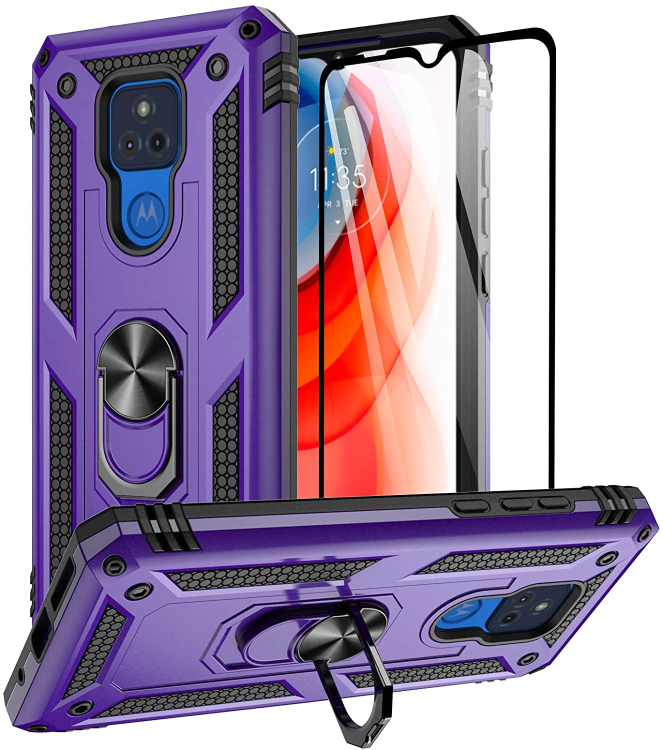 Aliruke Moto G Play 2021 Case with Tempered Glass Screen Protector and Grip Ring Kickstand, Military Grade Protective Cover Magnetic Finger Loop Stand Phone Cases for Motorola Moto G Play 2021, Purple