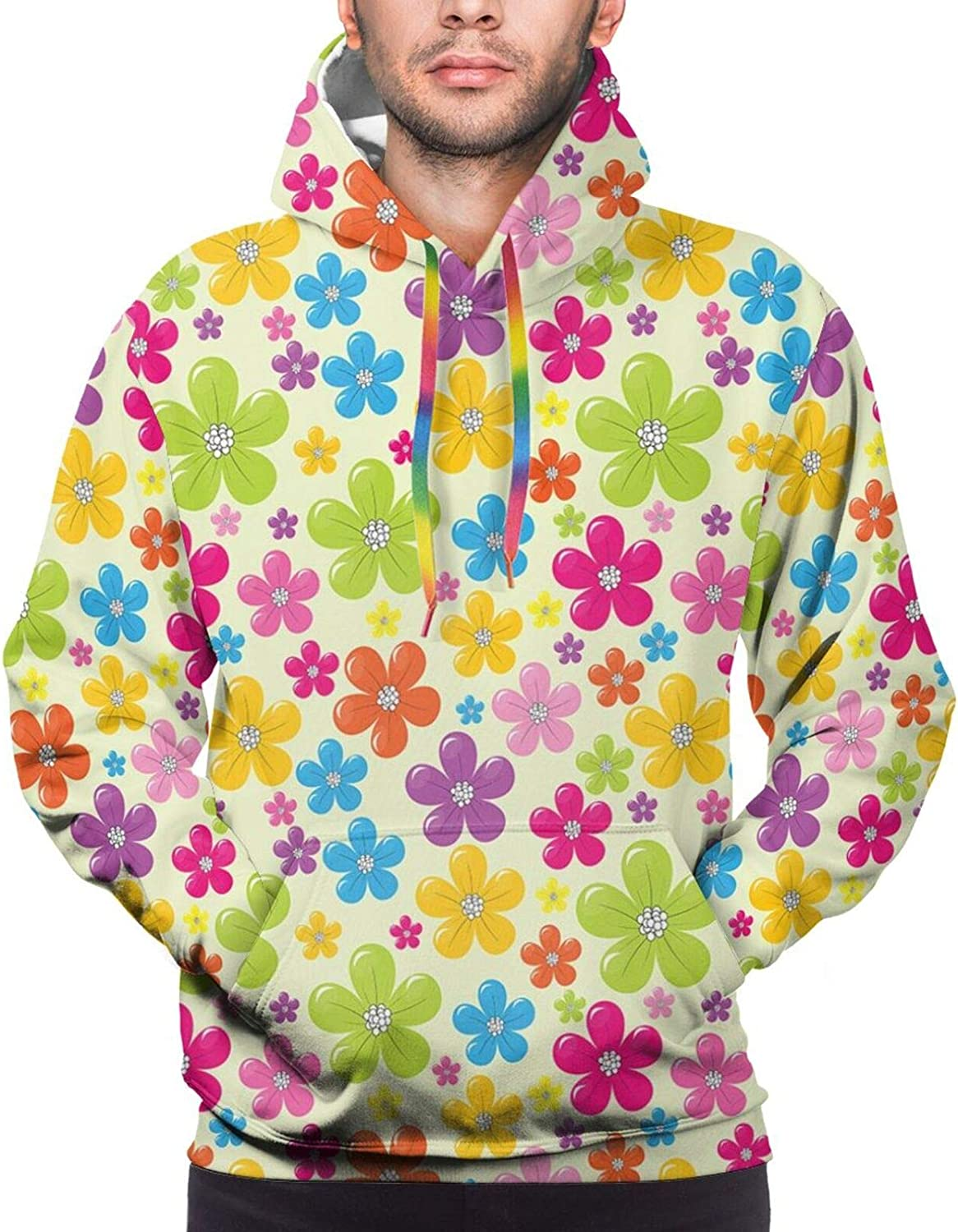 Men's Hoodies Sweatshirts,Sixties Inspirations with Colorful Dots and Swirls On A Black Background