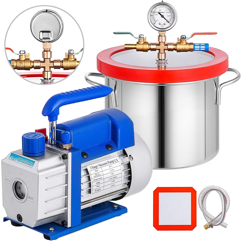 Bestauto 1.5 latest Gallon Vacuum Degassing online shop Chamber Steel Kit Stainless