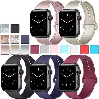 [5 unidades] Bandas de silicona compatibles para Apple Watch Band 1.496 in 1.575 in 1.654 in 1.732 in, correa de silicona suave compatible con Apple iWatch Series 5, 4, 3 y 2 1, Negro/Oro Rosa/Dorado/Azul Marino/Rojo Vino