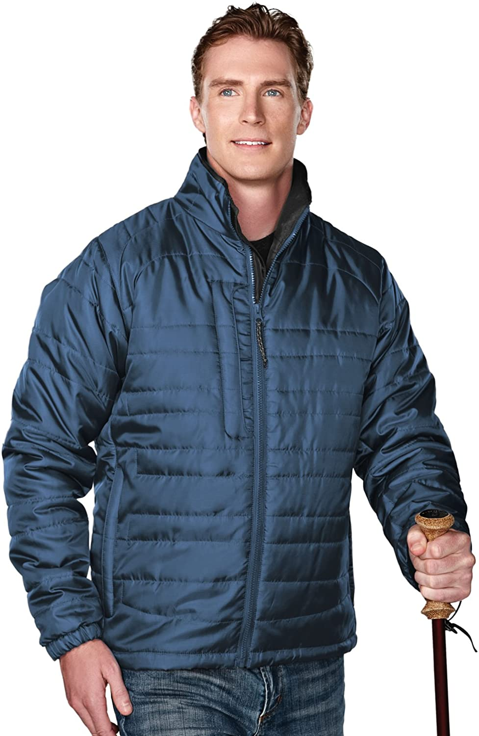 Tri-Mountain Men's 100% Polyester Rib- Stop Long Sleeve Quilt Jacket With Water Resistent, L, Atlantic/Charcoal