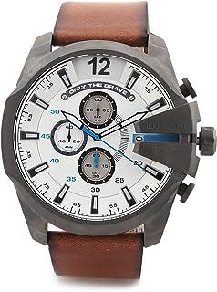 Diesel Mega Cheif Brown Leather Mens 59mm Chronograph Quartz Watch DZ4280