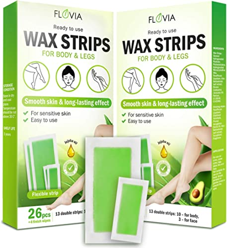 Wax Strips Hair Removal Women Men Facial Eyebrow Body Arm Leg Brazilian Bikini All Skin Types Sensitive Formula Home ...