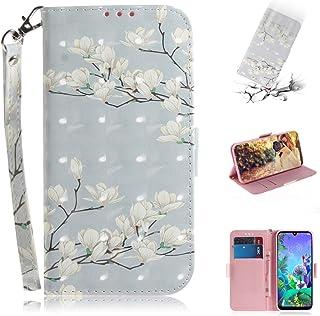 YIJINYA ESHOP Funda de piel con tapa para LG Q60, diseño de Mognolia en 3D, con tarjetero, tarjetero y cartera