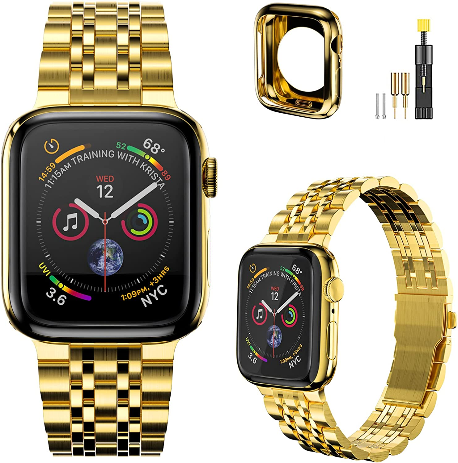 Fitlink Luxury Apple Watch Bands Compatible with Apple Watch 44mm 42mm 38mm 40mm, Upgraded Version Replacement Stainless Steel Metal Wristband for Apple Watch Series 7/6/5/4/3/2/1/SE