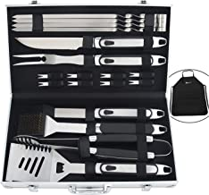 ROMANTICIST 20pc BBQ Grill Accessories Set with Non-Slip Handle - Perfect BBQ Grill Gift for Men Dad on Fathers Day - Heavy Duty Stainless Steel Barbecue Grilling Utensils in Aluminum Case