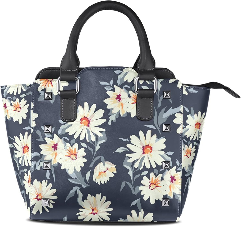 My Little Nest Women's Top Handle Satchel Handbag Floral Daisy Ladies PU Leather Shoulder Bag Crossbody Bag