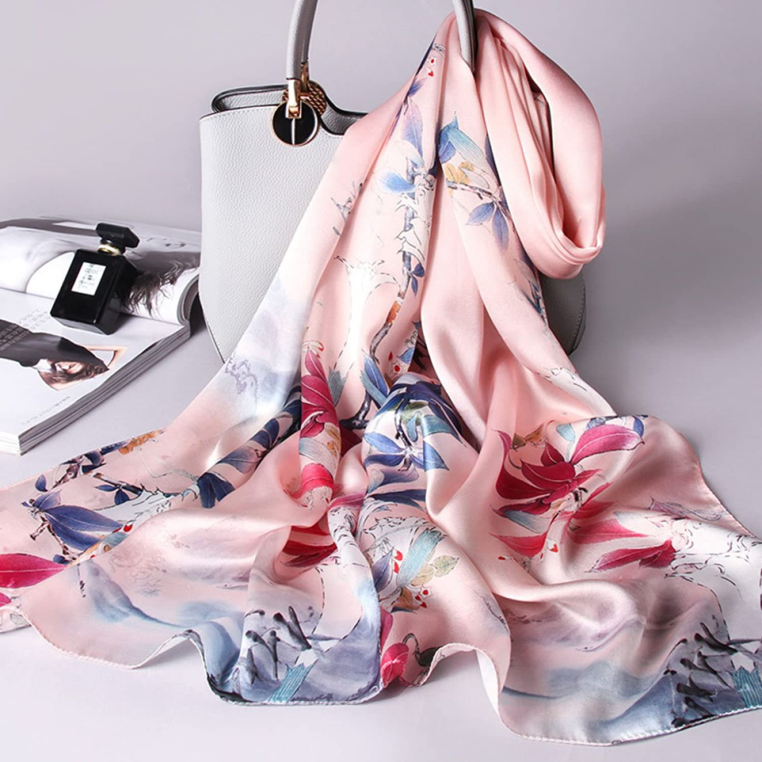 AchangScarf Silk Scarf Print Embroidery Embroidered Long Satin Shawl Beach Towel Soft and Comfortable (Length  170  53cm, Packing of 1) (color   K)