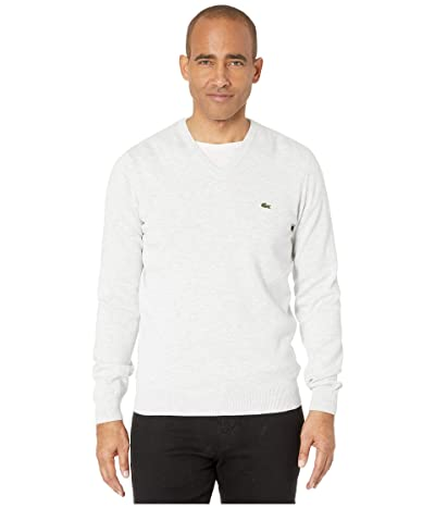 Lacoste Long Sleeve Half Moon V-Neck Jersey Sweater (Alpes Grey Chine/Navy Blue/Flour) Men