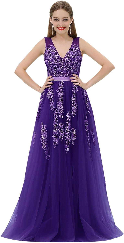CuteShe Women's Long Straps Tulle Formal Evening Dresses VNeck