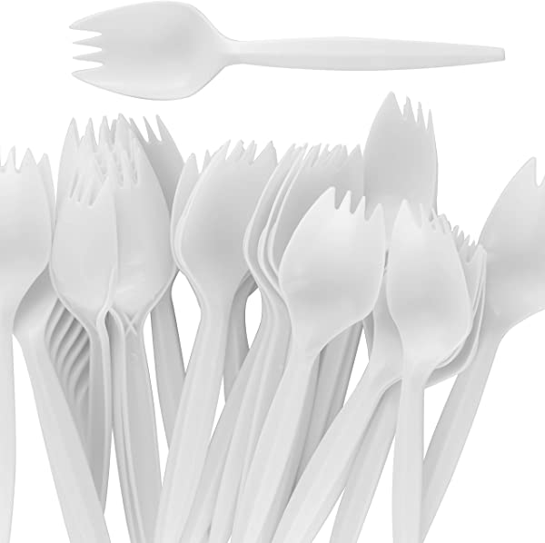 BPA Free White Disposable Sporks 50Pk Recyclable Eco Friendly And Kid Safe 2 In 1 Utensils Built Strong To Last Large Meals Great For School Lunch Picnics Or Restaurant And Party Supply