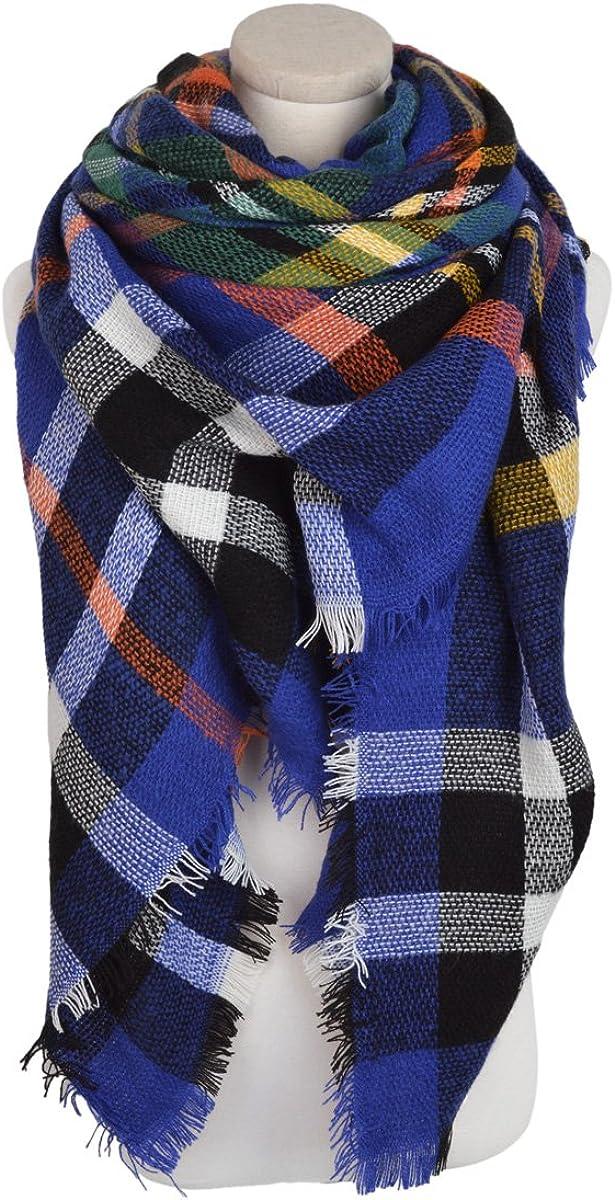Premium Winter Large Soft Knit Plaid Checked Square Blanket Scarf Shawl Wrap