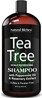 Natural Riches Tea Tree Shampoo 16 fl oz - Special Tea Tree Oil Shampoo Fights Dandruff with Pure Tea Tree Oil for Dry Hair, Itchy Scalp, lice, with Pure Lavender, Peppermint, Sulfate & Paraben Free