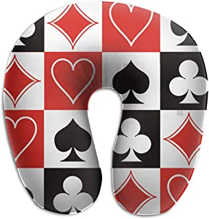 NiYoung Fashion Neck Travel Pillow - Grid Poker Playing Cards- Lightweight Support in Airplane,